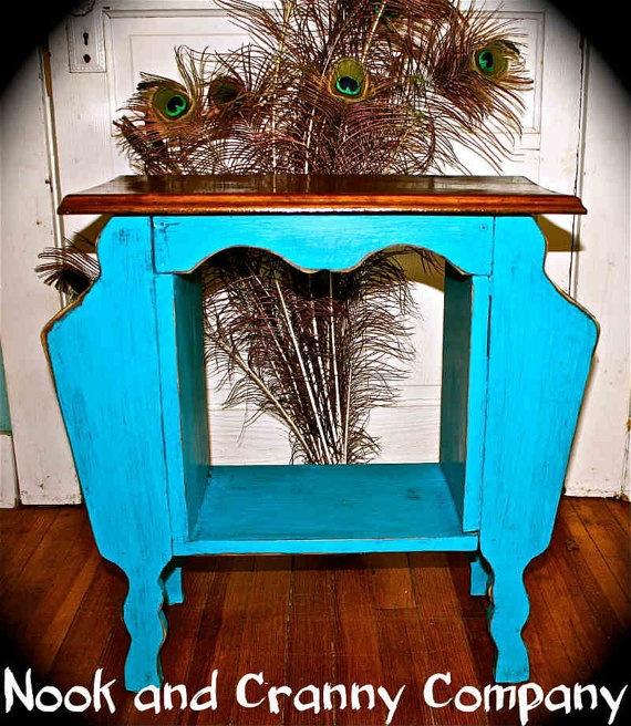 Elegant Antique Magazine Rack Accent Table Painted By NookandCrannyCo, $95.00