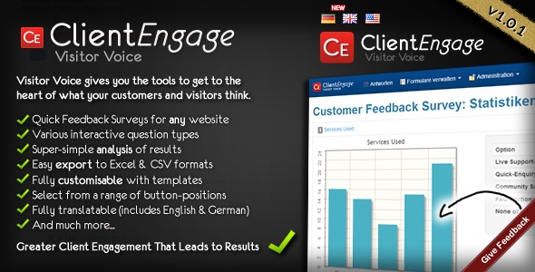 """Visitor Voice - Effective Website Surveys    """"Visitor Voice"""" has just been released - an engine for managing and analysing online surveys on your websites.     Check-out the online demonstration and see for yourself how """"ClientEngage Visitor Voice"""" can help you find out what's on your customers' & visitors' minds! :-)     http://codecanyon.net/item/visitor-voice-effective-website-surveys/4179837?ref=ClientEngage"""