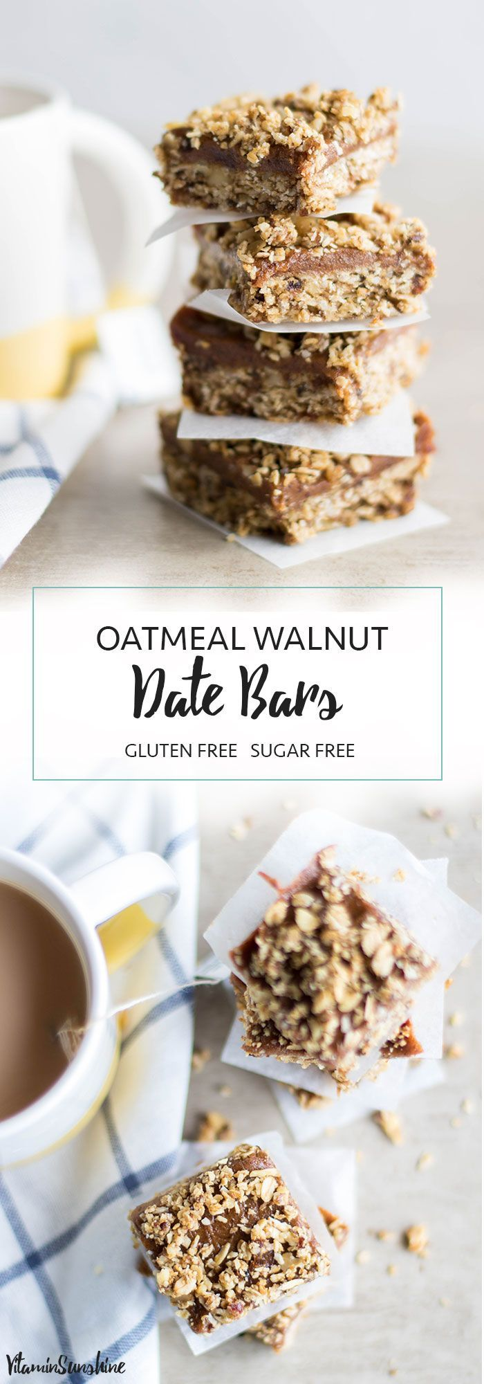 Gluten Free Date Bars / These delicious snack bars are full of healthy, energizing dates, oatmeal and walnuts. 100% clean, 110% caramelly-deliciousness. #dates #datebars #cookies #glutenfree #sugarfree #oatmeal #walnuts