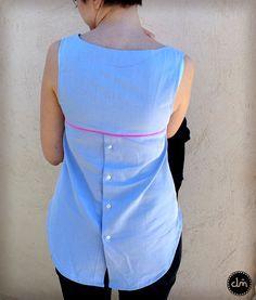 Éco Datura: ou l'art de récupérer une chemise d'homme pour faire un joli top !