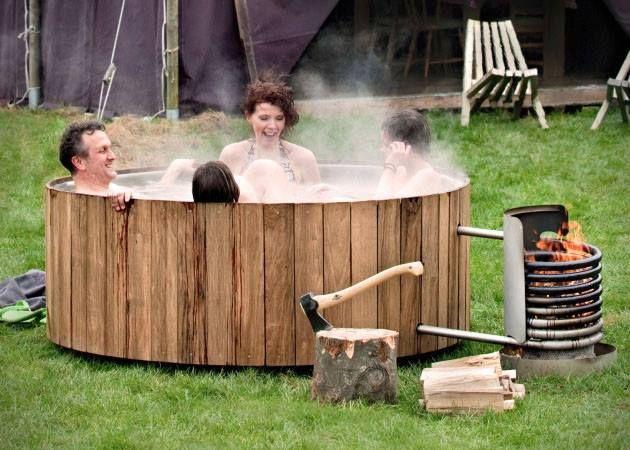 campfire powered wood hot tub.