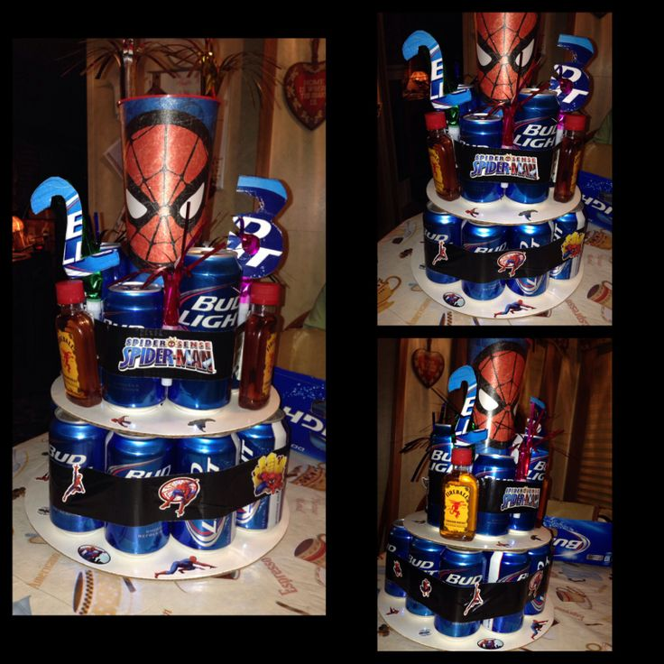 Birthday beer cake. Bud light, fireball, ducktape & Spider-Man cup & stickers! @Jessica Owings