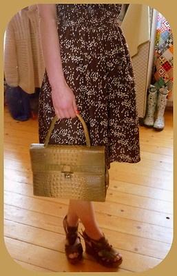 VINTAGE UNIKAT Tasche Handtasche Clutch Braun Kroko Mad Men 50er 60er Kelly Bag | eBay