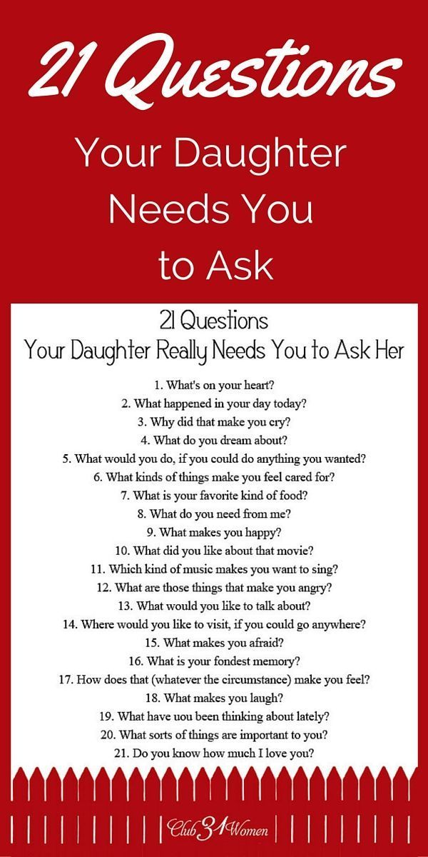 FREE Printable! So how do you develop a close relationship with your daughter? How to get to know her heart? Here are some questions she really needs you to ask her! ~ Club31Women