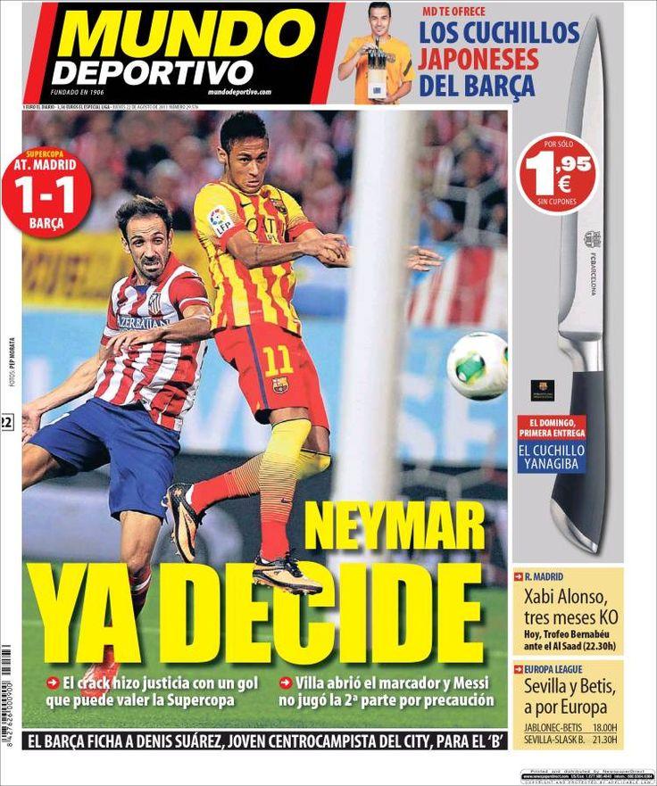Los Titulares y Portadas de Noticias Destacadas Españolas del 22 de Agosto de 2013 del Diario Mundo Deportivo ¿Que le pareció esta Portada de este Diario Español?