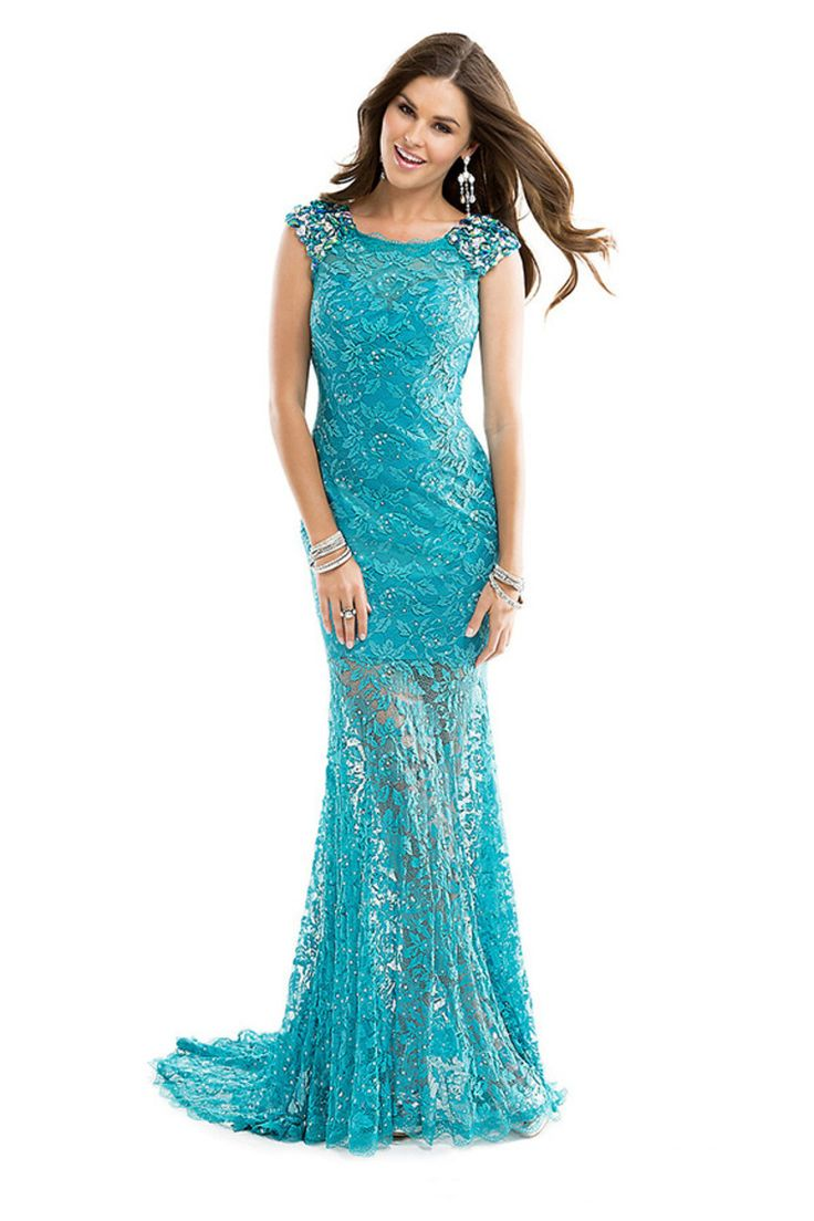 2014 Prom Dresses Scoop Neckline Mermaid Sweep Train Lace With Rhinestone Perfect