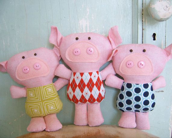 Toy Pattern - PDF - Three little pigs and the big bad wolf.. $6.00, via Etsy.