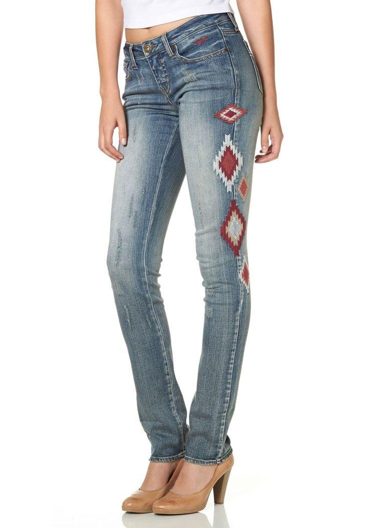 Cute Arizona Slim fit Jeans Used Look mit Nietenbesatz