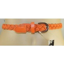 Impulse narrow orange plaited belt gold coloured buckle