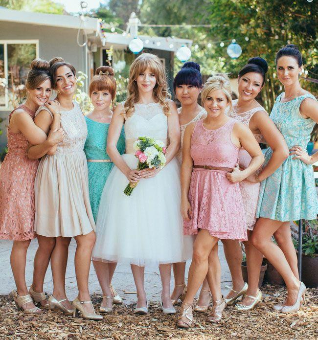 pastel lace bridesmaids