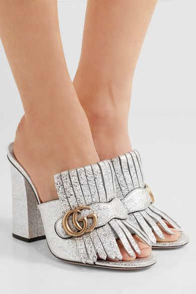 Gucci - Marmont Fringed Metallic Cracked-leather Mules - Silver - IT37.5