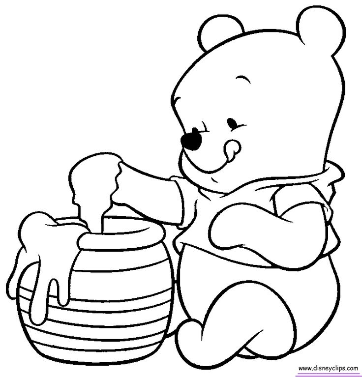 Baby Pooh Coloring Pages - Disney Winnie the Pooh, Tigger, Eeyore