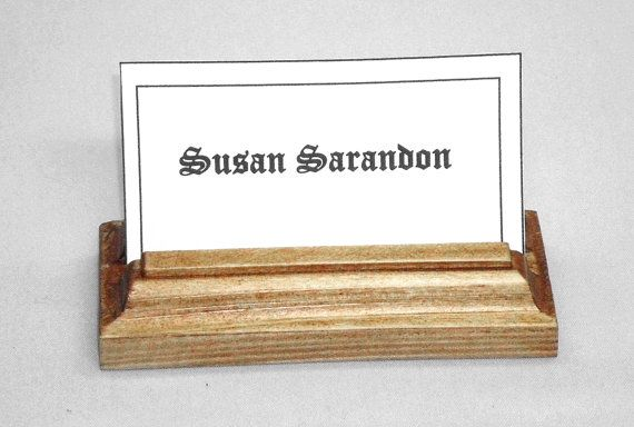 Business Wood Card Holder by WoodenWorldWilliams on Etsy