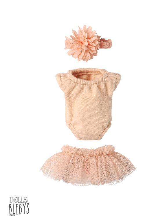 Maileg ballerine set rose Micro. Ensemble danseuse pour habiller les doudous Maileg Micro lapins et souris. Justaucorps, jupe en tulle et serre tête