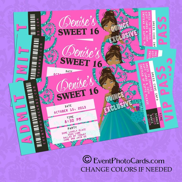 Sweet Sixteen Themes | Teal Pink Sweet 16 Invitations ...