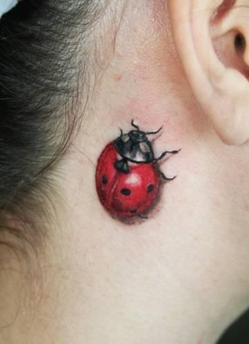 Ladybird 3D Tattoo Behind Ear
