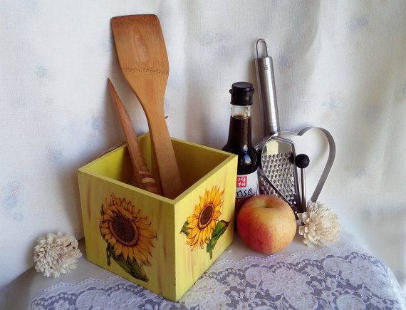 Big wooden storage box for kitchen decoupage box by Rocreanique on Etsy