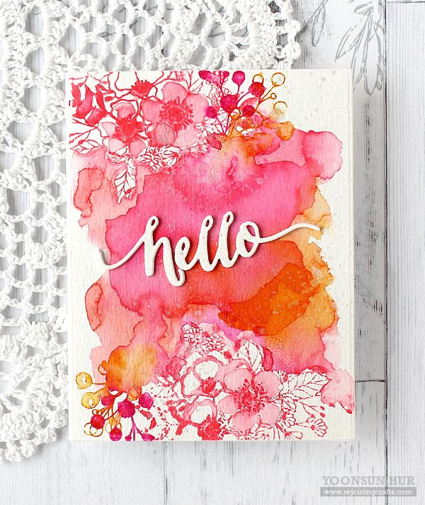 Hellooooo watercolor! They way Yoonsun blended the colors over the stamped portions gives this card a magical effect!
