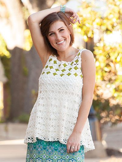 For work or play, these six lovely tops can be paired with jeans, slacks or skirts. They make a great summer look, or layered and worn year-round. Each of the six designs are made using Dalia yarn by