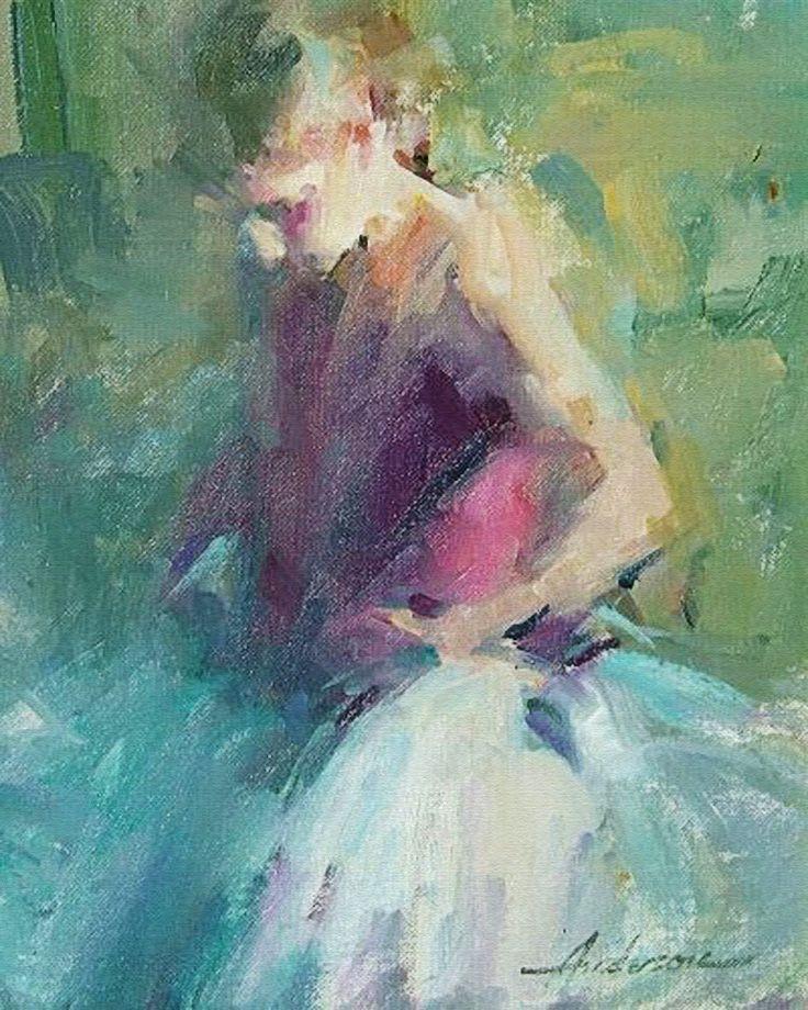 Carolyn Anderson, oil on canvas {figurative #expressionist art female ballerina tutu standing woman dancer painting} carolynanderson.com