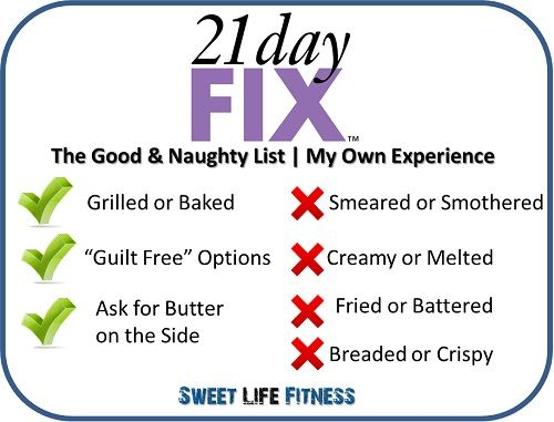 Do NOT stress out if you are going out to eat! Check out the 21 Day Fix Restaurant Guide at Sweet Life Fitness and indulge for the best results!