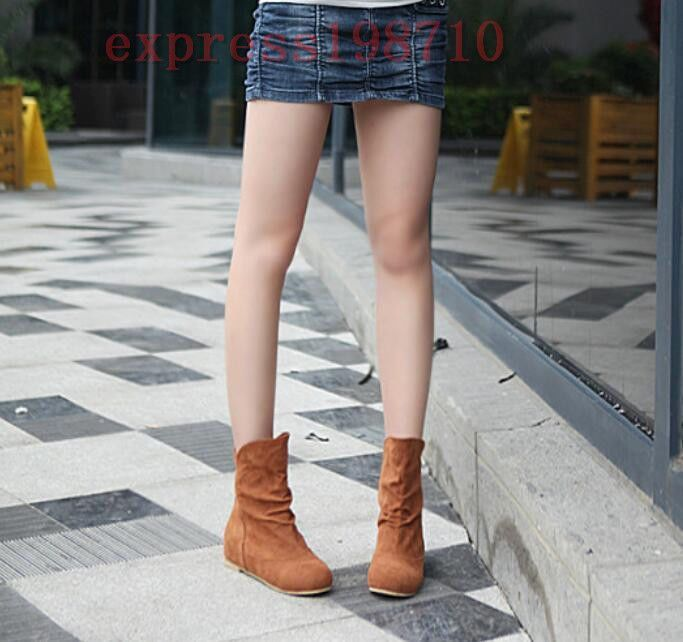 Women Slouch Ankle Boots Slouch Casual Faux Suede Flat School Roma Shoes Pull On
