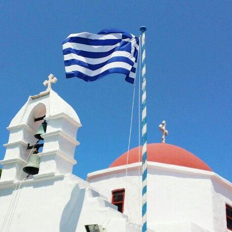 Greek flag , Mykonos