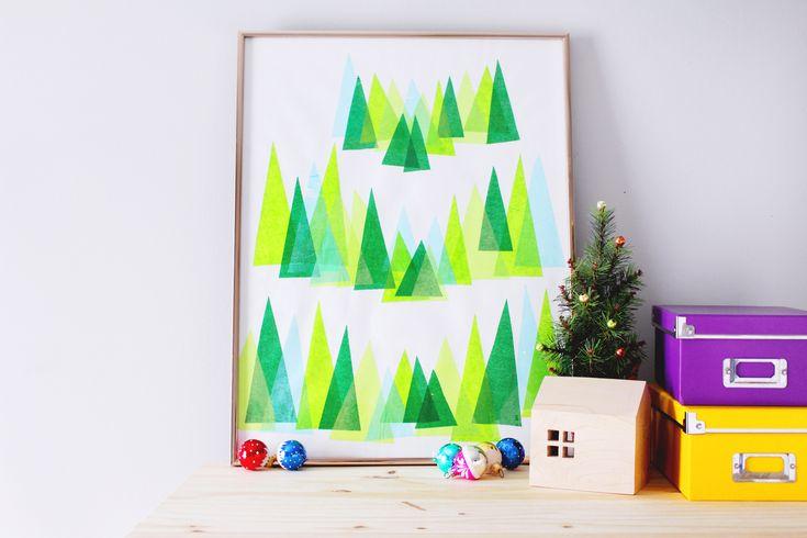 DIY Winter Pine Tree Art | Fish & Bull