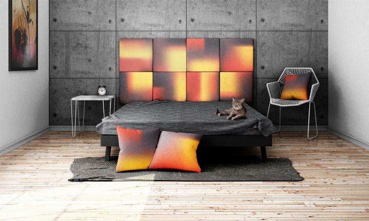 Headboard - upholstered modular wall panels OMBRE No. 2007 Purple Haze - Aurora - Mandarin Red by DesignPolski on Etsy
