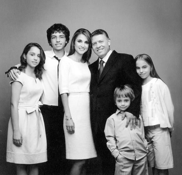 The Royal Family of Jordan: Their Majesties King Abdullah II, Queen Rania Al- Abdullah and their four children, Princess Iman, age 14, Crown Prince Hussein, age 16, Prince Hashem, age 6, and Princess Salma, age 10 in January 2011. The King's stepmother is the former American, Lisa Halaby. She married his father, King Hussein in 1978, becoming stepmother to his 8 children.