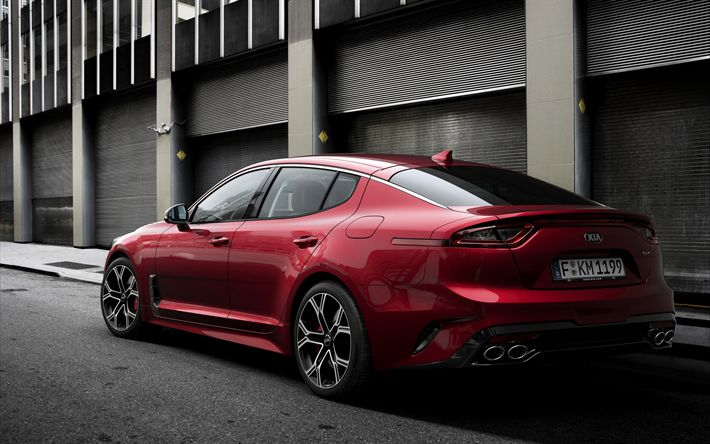 Download wallpapers KIA Stinger, 2018, exterior, rear view, red Stinger, sport sedan, four-pipe exhaust, KIA
