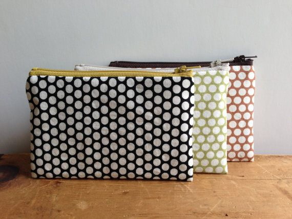Coin Purse White Polka Dots on Black  Small Zipper by zakkastudio, $8.00