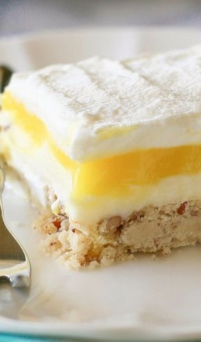 Lemon Lush Recipe ~ This dessert is light and creamy, with a crunchy shortbread