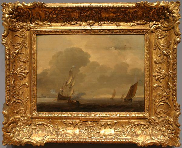 "Ludolf Backhuysen. ""Riverscape."" 17th C. Oil on panel."