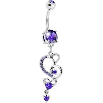 Tanzanite Gem Intricate Hearts Dangle Belly Ring #bodycandy #bellyring #heart $9.99