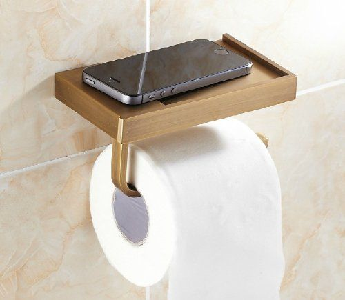 Have you ever dropped your phone into the toilet... Wall mounted toilet paper holder with cell phone shelf. Rozinsanitary Wall Mounted Toilet Paper Holder Antique Brass Holder.