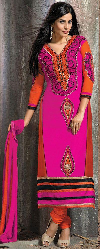 USD 35.16 Pink Faux Georgette Long Churidar Suit 42665