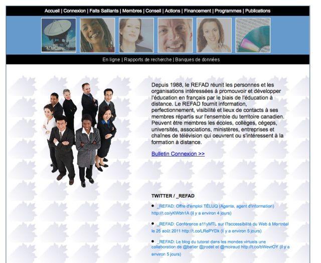 """L'équipe du REFAD (Réseau d'enseignement francophone à distance du Canada) propose de nombreuses ressources et réflexions sur le thème de la formation à distance.  Pour y accéder, cliquez sur les liens """"En ligne"""", """"Rapports de recherche"""" et """"Banques de données"""" sous le bandeau d'images."""