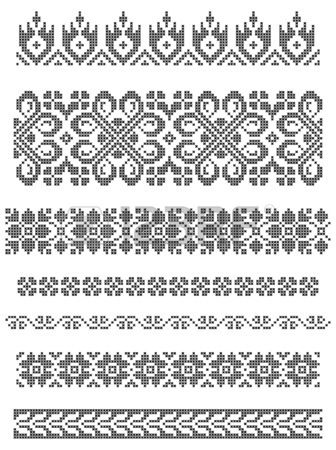 set of borders embroidery cross floral motifs Stock Vector