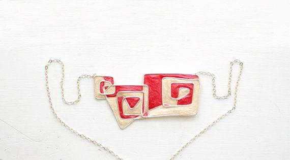 Navajo Tribal ispirazione geometrica spirale collana in argento, gioielli di carta rossa dell'abbronzatura...