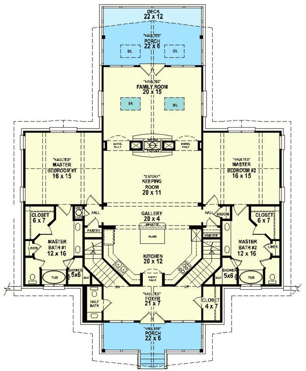 44 best images about dual master suites house plans on for Master house plans