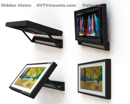 "Showing the Flip Around TV mount with optional ""Low Profile"" picture frame (TV not included)"