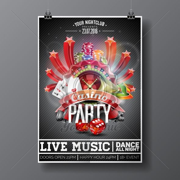 Vector Party Flyer design on a Casino theme with roulette wheel and game cards on dark background. - Royalty Free Vector Illustration