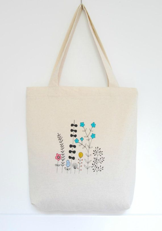 Screen printed and hand painted cotton tote bag by Arigato-Bcn on Etsy