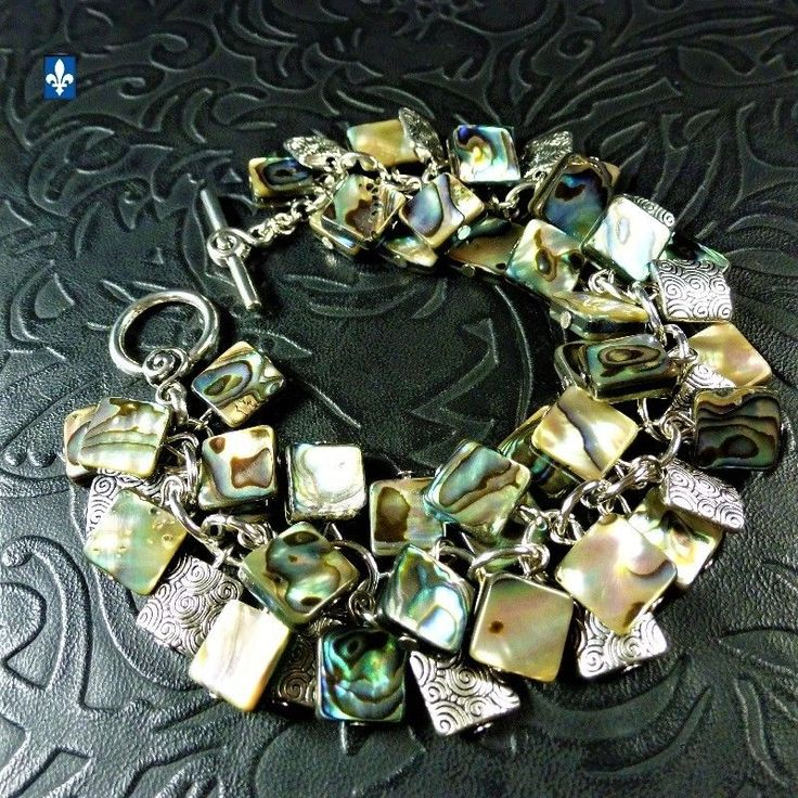 ♥ Gorgeous Multicolor Abalone Shell & Plated Silver Squares Bracelet
