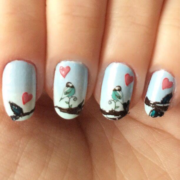 Nail art love birds valentine's day nails sevgililer günü tırnağı aşk tırnak süsleme sanatı desen tasarım degrade geçişli oje kalpli