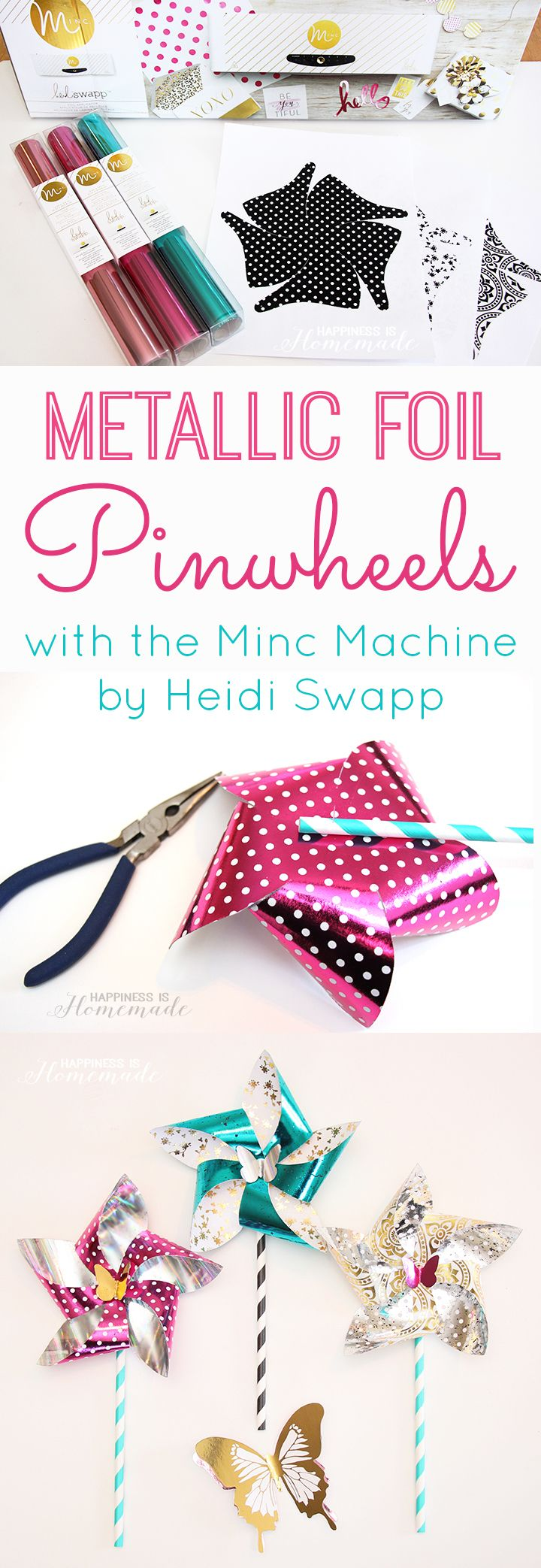 How to Make Metallic Foil Pinwheels with the Minc Machine by @heidiswapp - Tutorial #HSMinc #FoilAllTheThings #ad