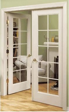 Interior French doors-great idea for homework area (fewer distractions, but not enough privacy to get away with anything. Good place for family computer