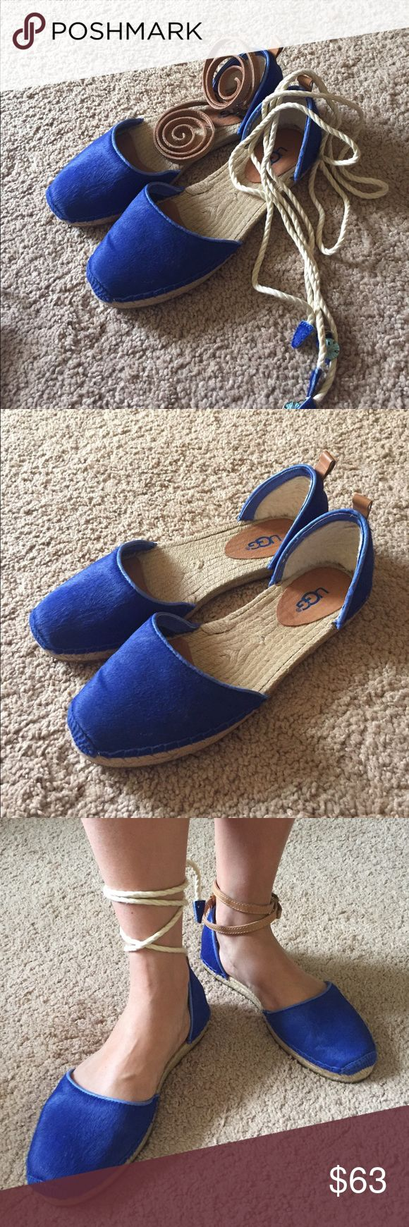 Ugg Australia blue espadrille flats ankle strap Only worn once excellent condition. Nice blue color espadrilles. It comes with two sets of strap. leather pair and white pair. Some reason leather strap is 8, must be I received wrong one. I don't see any problem though. I worn once without strap, you can remove the strap and wear it. I will consider reasonable offer. Thank you. UGG Shoes Espadrilles