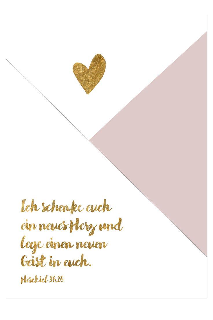 """Bibelvers auf der Postkarte: """"Gott spricht: Ich schenke euch ein neues Herz und lege einen neuen Geist in euch."""" - Hesekiel 36,26"""